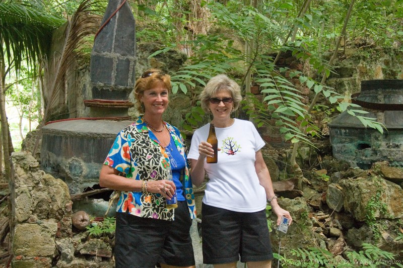 Nancy and Linda at ruins of Brewer's Bay distillery.